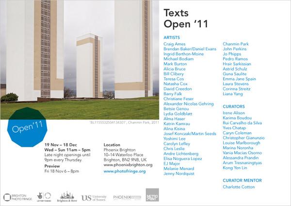 Brighton Photo Fringe 2011 text project flyer