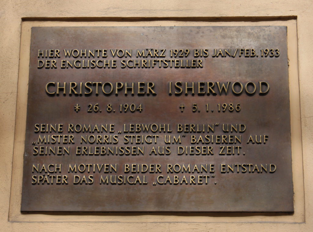 Plaque at Chistopher Isherwood House 17 Nollendorf Strasse